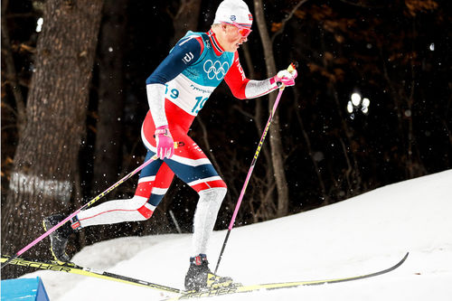 Johannes Høsflot Klæbo på vei mot sprintgullet i Pyeongchang-OL 2018. Foto: Modica/NordicFocus.