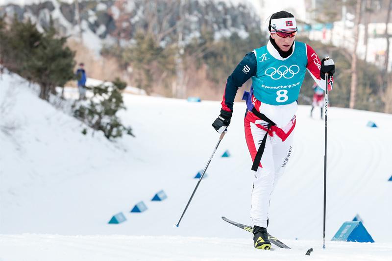 Marit Bjørgen ute i skiløypene under OL Pyeongchang 2018. Foto: Modica/NordicFocus.