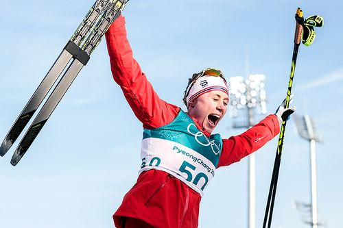 Ragnhild Haga kunne slippe jubelen løs for gull på 10 kilometer fri teknikk under OL Pyeongchang 2018. Foto: Modica/NordicFocus.