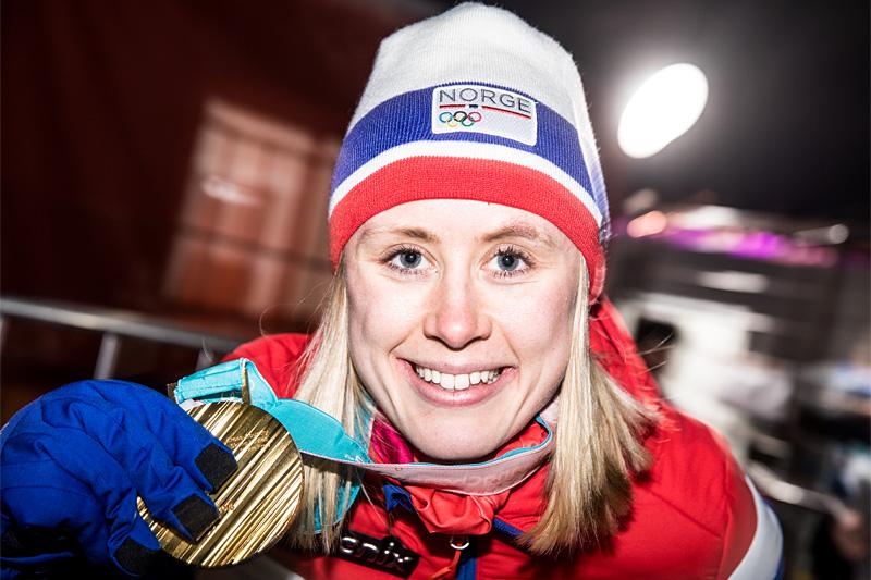 Ragnhild Haga med OL-gullet på 10 km fri teknikk under OL Pyeongchang 2018. Foto: Modica/NordicFocus.
