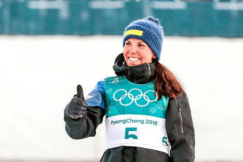 Charlotte Kalla ble olympisk mester på skiathlon under OL i Pyeongchang 2018. Foto: Modica/NordicFocus.