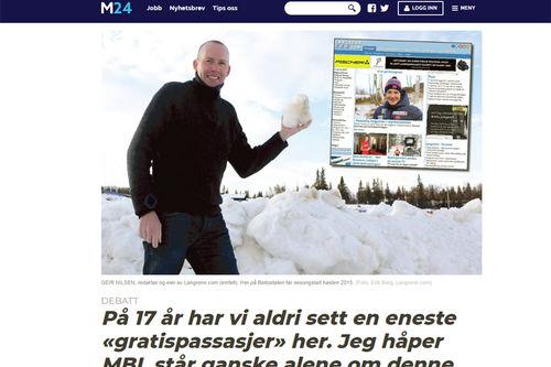Faksimile fra Medier24.no i forbindelse med debatt rundt det å omtale lesere og publikum av gratis artikler som gratispassasjerer.