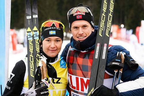 Britta Johansson Norgren og Morten Eide Pedersen vant Jizerska 2018. Foto: Magnus Östh/Visma Ski Classics.