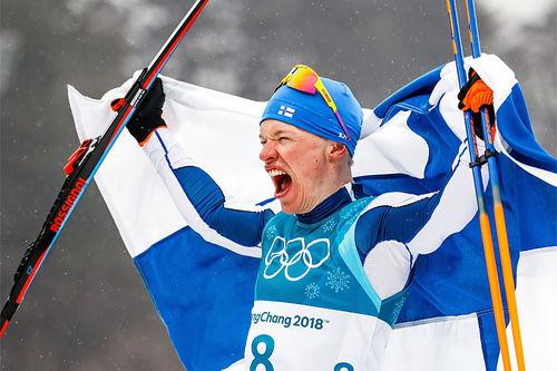Iivo Niskanen jubler over å ha vunnet 5-mila under OL Pyeongchang 2018. Foto: Modica/NordicFocus.