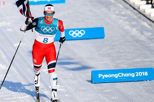 Marit Bjørgen inn til suverent OL-gull på 30 km i Pyeongchang 2018. Foto: Thibaut/NordicFocus.