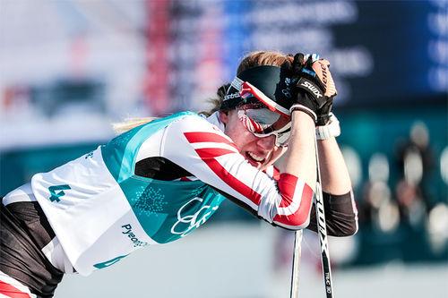 Teresa Stadlober puster ut etter målgang på 30 km i OL Pyeongchang 2018. Foto: Modica/NordicFocus.