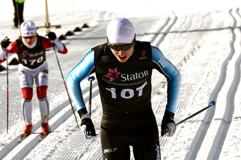 Martin Kirkeberg Mørk på vei mot gull på 10 km klassisk for klasse menn 17 år under Junior-NM i Steinkjer 2018. Foto: Erik Borg.