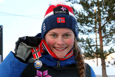 Mathilde Myhrvold gikk inn gull på 15 km klassisk for kvinner 19/20 år under Junior-NM i Steinkjer 2018. Foto: Erik Borg.