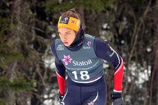 Kristine Stavås Skistad gikk inn til gull på 5 km fri teknikk under Junior-NM i Steinkjer 2018. Foto: Erik Borg.