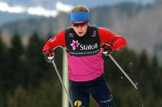 Helene Marie Fossesholm på vei mot suverent gull på 5 km fri teknikk under Junior-NM i Steinkjer. Foto: Erik Borg.