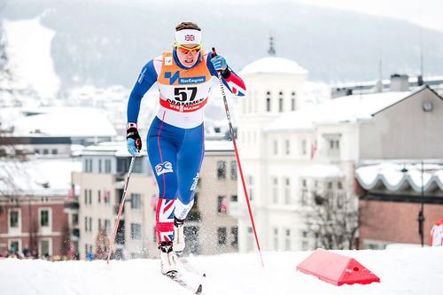 Nichole Bathe vant 30 km i Ingalåmi 2018, her er hun underveis i Drammen i forbindelse med verdenscupsprinten tidligere i uka. Foto; Modica/NordicFocus.