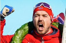 Andreas Nygaard jubler etter å ha vunnet Birken - Birkebeinerrennet 2018. Foto: Magnus Östh / Visma Ski Classics.