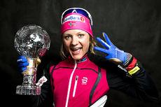 Maiken Caspersen Falla tok hjem sprintkula for tredje sesong på rad i verdenscupen 2017/2018. Foto: Modica/NordicFocus.