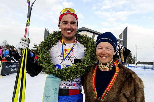 Andreas Nygaard etter seieren i forrige vinters Nordenskiöldsloppet. Foto: Magnus Östh/Red Bull Content Pool.