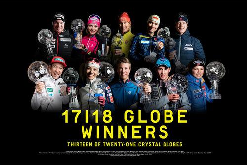 Vinnere av verdenscup 2017/2018 i langrenn, skiskyting, kombinert og hopp. Fotomontasje: Fischer Sports.