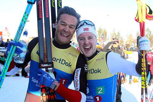 Aleksander Emil Dyrberg Ek (t.v.) og Sindre Bjørnestad Skar tok sølv for Bærums Verk og Hauger IF på lagsprint under NM i Alta 2018. Foto: Erik Borg.