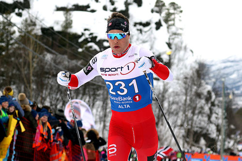 Mattis Stenshagen på vei mot 6.-plass på 10 km klassisk under NM i Alta 2018. Foto: Erik Borg.