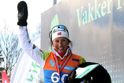 Marit Bjørgen avsluttet skikarrieren med sølv på 30 km fri teknikk under NM i Alta 2018. Foto: Erik Borg.