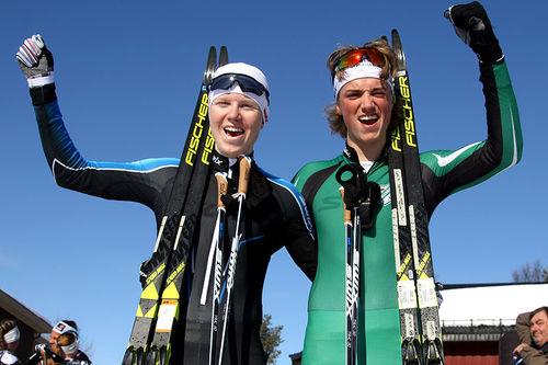 Martin Kirkeberg Mørk (t.v.) vant Menn 17 år sin Norgescup-finale i Alta 2018 foran Lars Agnar Hjelmeset. Foto: Erik Borg.