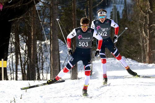 Thomas Helland Larsen suser inn til seier i eldste herreklasse under juniorenes Norgescup-finale i Alta 2018. Foto: Erik Borg.