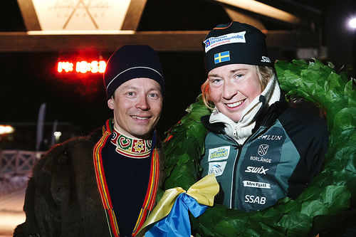 Emilia Lindstedt ble soleklar vinner i dameklassen av Nordenskiöldsloppet 2018. Hun hadde over 3 timers margin ned til neste løper. Foto: Magnus Östh/Red Bull Content Pool.