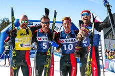 Team Santander-gutta Tord Asle Gjerdalen (f.v.), Anders Aukland, Øyvind Moen Fjeld og Andreas Nygaard jubler etter Ski Classics-finalen Ylläs-Levi. De endte henholdsvis på plasseringene 2, 3, 4 og 1. Foto: Manzoni/NordicFocus.