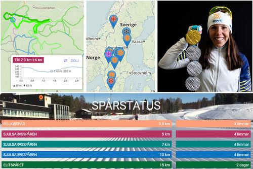 Illustrasjonsbilde. Grafikk fra Längdspår.se. Bilde av Charlotte Kalla med OL-medlajer. Foto: Modica/NordicFocus. Fotomontasje: Langrenn.com.