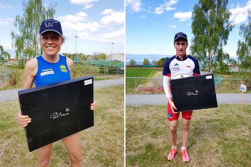 Anne Nevin og Kristian Engen Forbord var raskest av samtlige deltakere i Malvikingen Opp. Foto: Torgeir Kruke.