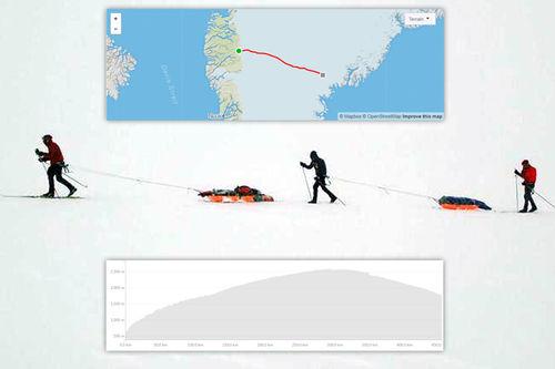 Tøffe forhold satte en stopper for Aukland & co. sitt rekordforsøk over Grønland. Grafikken viser Strava-segmentet for turen. Foto: Privat. Grafikk: Strava.