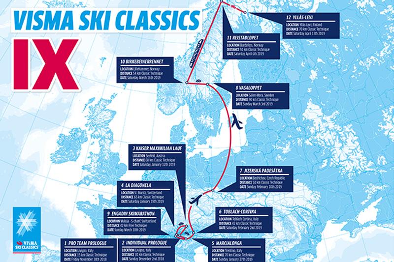 Alle renn i Visma Ski Classics 2018/2019.