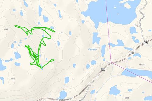 Det nye løypenettet ved Sognefjellshytta, det ligger litt vestover langs veien og opp i lia. Området gjør at løypenettet cirka har blitt doblet i lengde. Grafikk: Løyper.net/Langrenn.com.