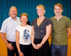Nye styrere er ansatt: Kommunalsjef Ivar Bø (tv), Natalie Alfarnes, Hege Kristin Thuen og Vidar Fjelltun
