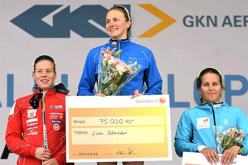 Damenes seierspall i Alliansloppet 2018. Fra venstre: Maria Nordström (2.-plass), Linn Sömskar (1) og Lotta Udnes Weng (3). Foto: Rolf Zetterberg.