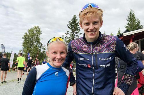 Ragnhild Mogstad og Eirik Mysen etter å ha vunnet Vennafjellet Opp 2018. Foto: Magnus Grøtte Renå.