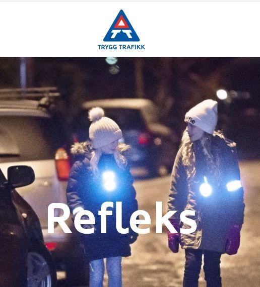 Illustrasjon: to jenter i biltrafikk med refleks