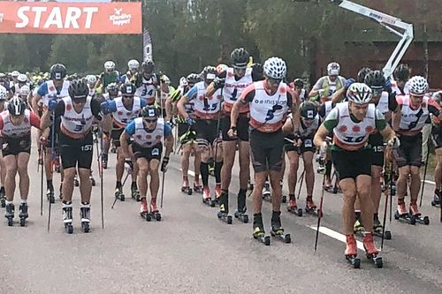 Starten i det 90 km lange Klarälvsloppet 2018 hvor flere norske løpere slo seg inn på seierspallen. Foto: Sigmund Hov Moen.