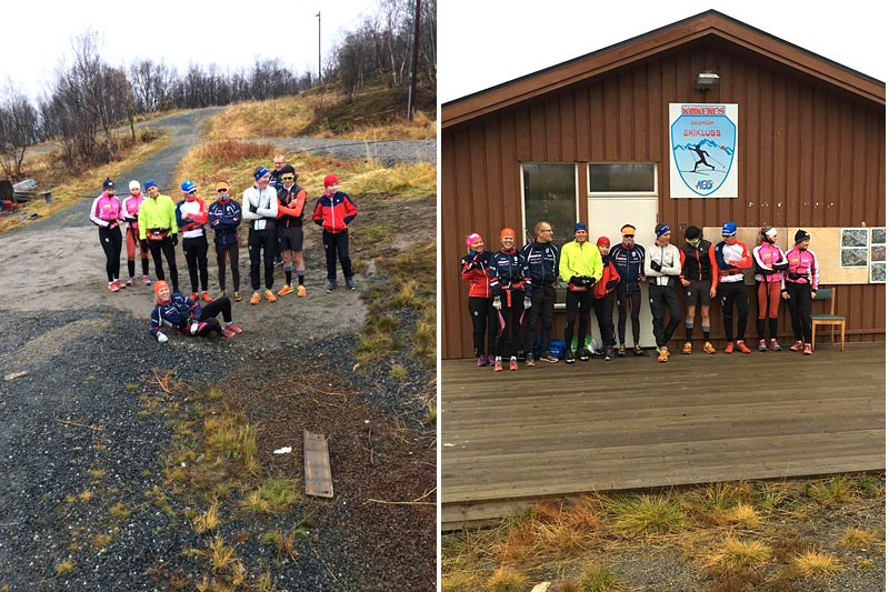 Til venstre poserer ungdommen, med maskot og veteran-verdensmester fra 2018 i front. Til høyre er 15-16 år og junior klare for langtur søndag morgen framfor klubbhuset til Kirkenes og Omegn Skiklubb. Foto: Fred Inge Eilertsen.
