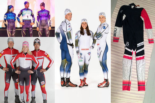 Noen av de nye skidressene for sesongen 2018/2019. Bildene er hentet fra Finlands landslag (øverst til venstre), Østerrike (nederst t.v.), Sverige (midten) og Norge (høyre). Collage: Langrenn.com.
