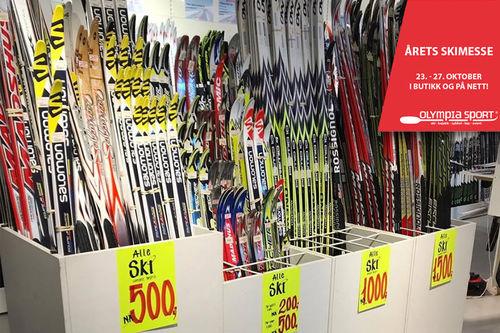 Et lite utvalg av tilbudene på skimessa til Olympia Sport 23.-27. oktober 2018. Foto: Olympia Sport.