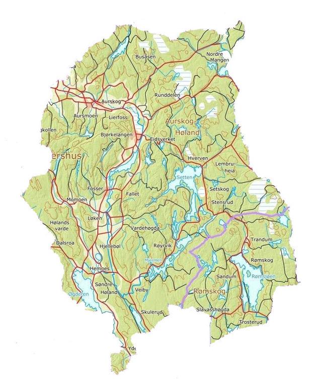 Kart Over Nye Aurskog Holand Kommune Nye Aurskog Holand Og