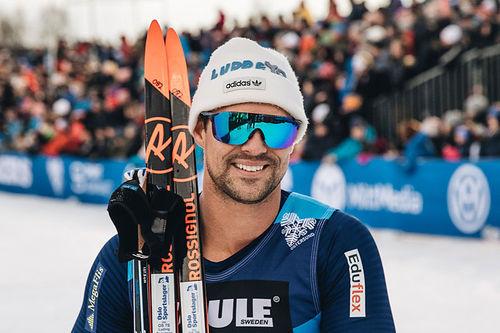 Ludvig Søgnen Jensen fra da han vant Östersund Winter Grand Opener 2018. Foto: Kim Bye.