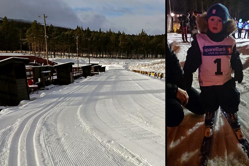 Dombås Skiarena har 3 km skispor og Dombås IL arrangerte klubbrenn onsdag kveld. Emil Killi-Nossum (t.h.) fikk dermed æren av å åpne sesongen i det som trolig var første norske renn på snø i sesongen 2018-2019. Foto: Dombås Skiarena/Dombås IL.