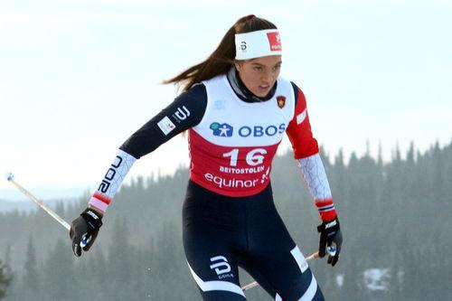 Kristine Stavås Skistad vant sprintprologen under sesongåpningen på Beitostølen 2018. Foto: Erik Borg.