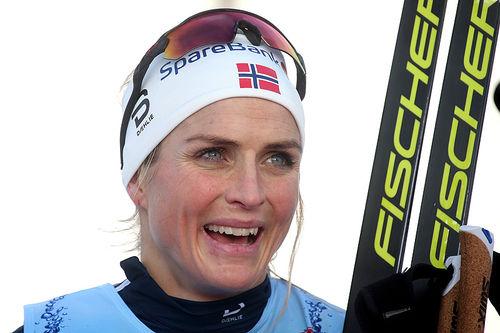 Therese Johaug etter seieren på 10 km fri under Beitosprinten 2018. Foto: Erik Borg.