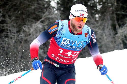 Martin Johnsrud Sundby på vei mot 3.-plass i 15 km fri under sesongåpningen på Beitostølen 2018. Foto: Erik Borg.