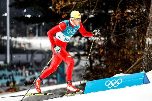 Wang Quiang under OL i Pyeongchang 2018. Foto: Modica/NordicFocus.