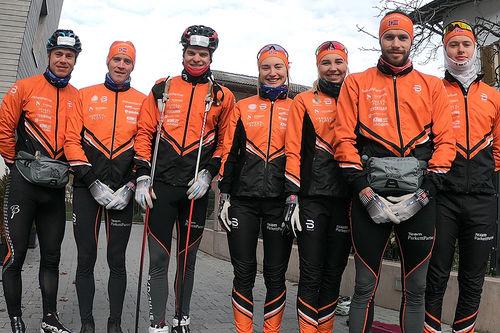 Fra venstre: Thomas Gjestrumbakken, Magnus Bleken, Vinjar Skogsholm, Karoline Øren, Martine Korslund, Simen Nordli og Kjetil Tyrom. Foto: Team Parkettpartner.