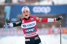 Therese Johaug inn til seier i verdenscupens minitour på Lillehammer 2018. Foto: Modica/NordicFocus.