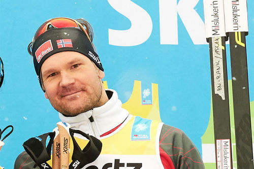 Øystein Pettersen etter å ha vunnet den individuelle prologen i Ski Classics 2018/2019. Foto: Rauschendorfer/NordicFocus.