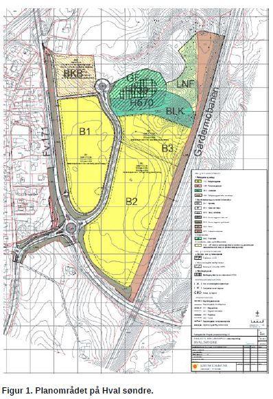 Kart over planområde Hval søndre i forbingdelse med utbyggingsavtale